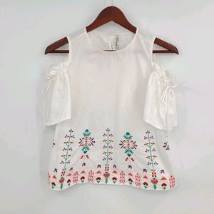 Cotton Cold Shoulder Embroidered Blouse